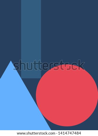 Minimal illustration background.  Geometry design concept. Flat design art. Square shape. Triangle shape. Circle shape. EPS10 vector graphic. Use for cover, book, magazine background page.