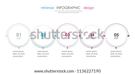Minimal Infographic design with 5 options or steps. Infographics for business concept. Can be used for presentations banner, workflow layout, process diagram, flow chart, info graph