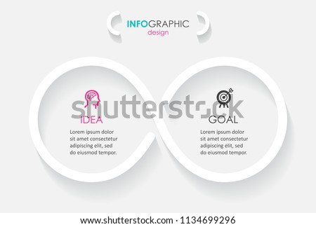 Minimal Infographic label design with icons and 2 options or steps. Infinity concept. Can be used for presentations banner, workflow layout, process diagram, flow chart, info graph