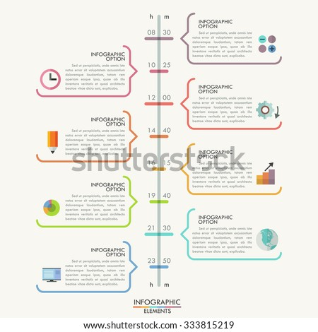 Minimal infographics timeline template with colorful outline speech bubbles for 8 steps Vector. Can be used for web design and  workflow layout