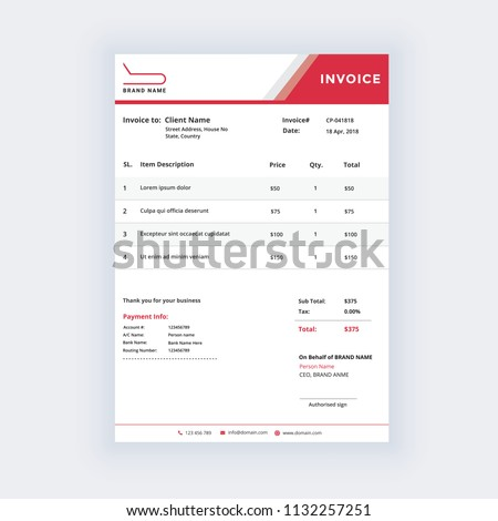 Minimal Invoice Template Vector Design