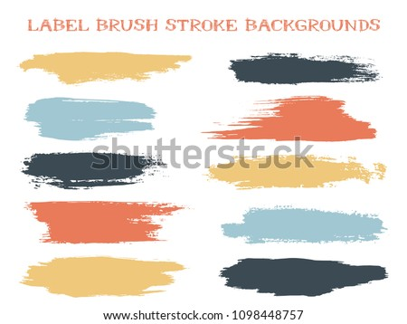 Minimal label brush stroke backgrounds, paint or ink smudges vector for tags and stamps design. Painted label backgrounds patch. Interior colors scheme swatches. Ink dabs, red blue black splashes.