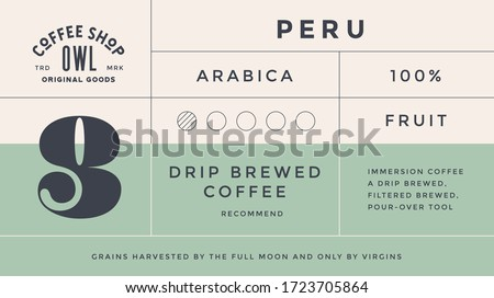Minimal Label. Typographic modern vintage label, tag, sticker for coffee brand, coffee packing. Retro design minimal label, tag of coffee, classic old school style, typography. Vector Illustration