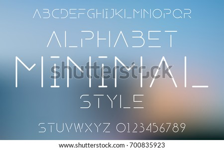 Minimal line set style technology and modern.Decorative alphabet vector fonts and numbers.Typography design for headlines, labels, posters, logos, cover, etc.