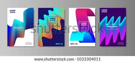 Minimal Liquid cover designs set. Future Poster templates with Fluid shapes composition with smooth gradient. vector illustration #1033304011