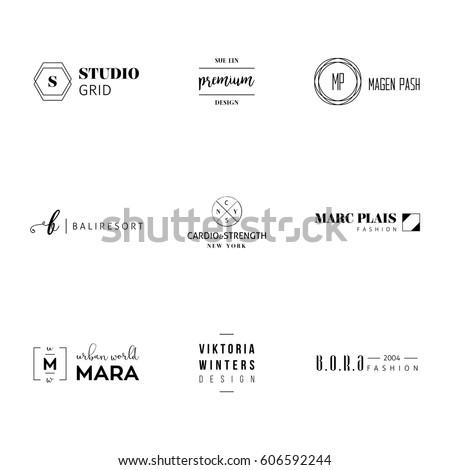 Minimal logo set with different black designs