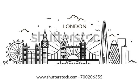Minimal London city Linear Skyline. Line art