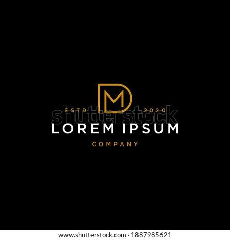 minimal MD DM M D modern elegant gold color initial based letter icon logo type. Stok fotoğraf ©