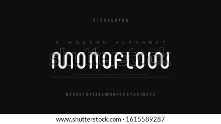 Minimal modern alphabet fonts and numbers. Abstract urban rounded line font typography typeface uppercase. vector illustration