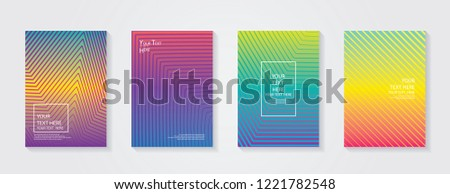 Minimal modern cover design. Dynamic colorful gradients. Future geometric patterns. Blue, pink, yellow, green, orange, purple placard poster template. #1221782548