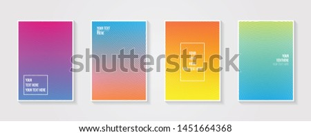 Minimal modern cover design. Dynamic colorful gradients. Future geometric patterns. Blue, pink, yellow, green, orange, purple placard poster template. #1451664368