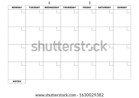 Minimal Monthly Calendar Without Dates Foto stock ©