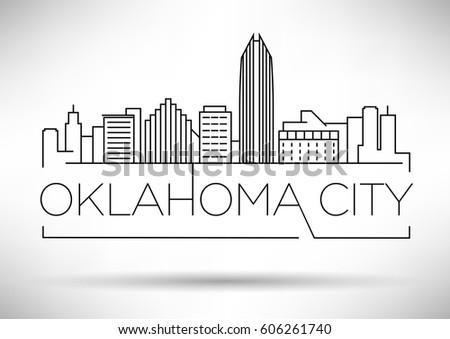 Minimal Oklahoma Linear City Skyline with Typographic Design