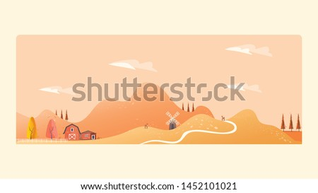 Minimal Panorama Vector illustration of Countryside landscape in autumn,banner of farm house.The yellow foliage mountains or hill with falling leaves,barn and pumpkin,windmill and antilope deer