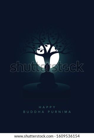 Minimal Poster of Happy Buddha Purnima Vesak Lord Buddha in Meditation under Tree at beautiful Moon Light coming from Back