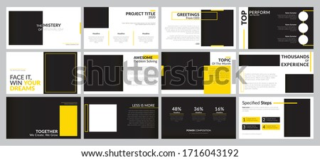 Minimal presentation background templates for business report, keynote, marketing, advertisement, and google slide. Clean and professional looks. Yellow and black modern presentation template designs.