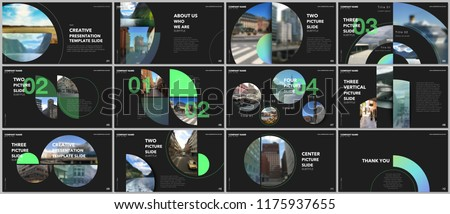 stock-vector-minimal-presentations-design-portfolio-vector-templates-with-circle-elements-on-black-background
