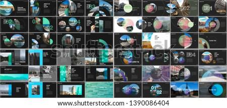 Minimal presentations design, portfolio vector templates with circle elements on black or white. Multipurpose template for presentation slide, flyer leaflet, brochure cover, report, advertising.