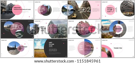 Minimal presentations design, portfolio vector templates with circle elements on white background. Multipurpose template for presentation slide, flyer leaflet, brochure cover, report, marketing