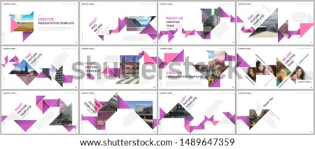 Minimal presentations design, portfolio vector templates with colorful triangle origami paper elements. Multipurpose template for presentation slide, flyer leaflet, brochure cover, report, marketing.