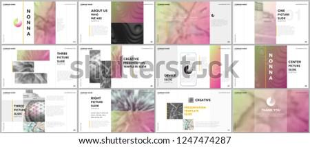 Minimal presentations design, portfolio vector templates with elements on white background. Multipurpose template for presentation slide, flyer leaflet, brochure cover, report, marketing, advertising.