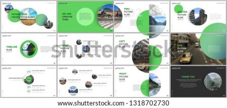 Minimal presentations design, portfolio vector templates with green colorful circle elements on white background. Multipurpose template for presentation slide, flyer leaflet, brochure cover, report