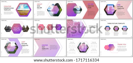 Minimal presentations design, portfolio vector templates with hexagonal design background, hexagon style pattern. Multipurpose template for presentation slide, flyer leaflet, brochure cover, report.
