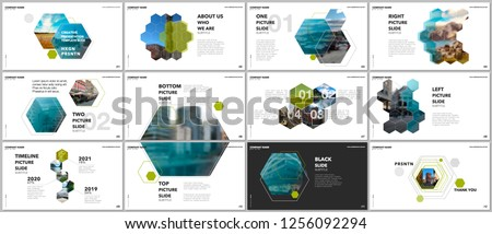Minimal presentations design, portfolio vector templates with hexagons and hexagonal elements. Multipurpose template for presentation slide, flyer leaflet, brochure cover, report, marketing.