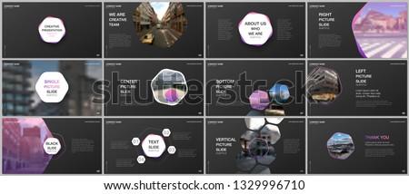 Minimal presentations design, portfolio vector templates with hexagons and hexagonal elements. Multipurpose template for presentation slide, flyer leaflet, brochure cover, report, advertising.