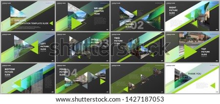 Minimal presentations design, portfolio vector templates with triangles and triangular elements. Multipurpose template for presentation slide, flyer leaflet, brochure cover, report, advertising.