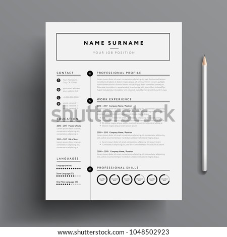 Minimal professional CV / resume template - super clean modern vector infographic - black and white resume cv template