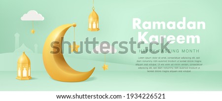 Minimal Ramadan Kareem horizontal banners with 3d crescent moon with hanging traditional lanterns. Vector Illustration for greeting card, poster, ramadan sales and voucher.