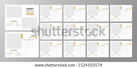 minimal real estate 2020 desk calendar template.wall Calendar  Design Print Template with Typographic.