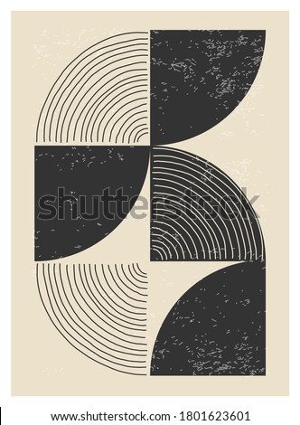 Minimal 20s geometric design poster, vector template with primitive shapes elements, modern hipster style