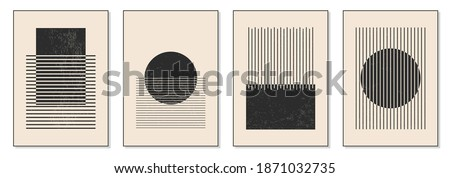 Minimal 20s geometric design poster, vector template with primitive shapes elements, modern hipster style Stockfoto ©