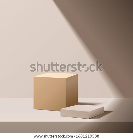 minimal scene with geometrical forms.  box podium with sun light. Empty pedestal platform for award, product presentation, mock up background, stand,  Podium, stage pedestal or platform illuminated.