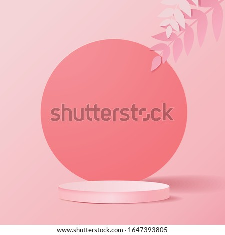 minimal scene with geometrical forms. Cylinder podiums in pink background with paper leave on column. Scene to show cosmetic product, Showcase, shopfront, display case. 3d vector illustration.