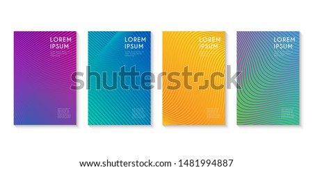 Minimal set covers design. Abstract line colorful halftone gradient background design for web. Vector Illustration.
