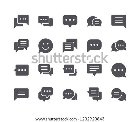 Minimal Set of Chat Bubble Flat Icon. Pixel Perfect.