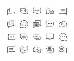 Minimal Set of Chat Bubble Line Icons. Editable Stroke. 48x48 Pixel Perfect.