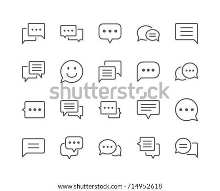 minimal set of chat bubble line ...