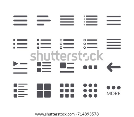 Minimal Set of Hamburger Menu Flat Icons. Editable Stroke. 48x48 Pixel