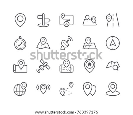 Minimal Set of Map and Location Line Icons. Editable Stroke. 48x48 Pixel Perfect.