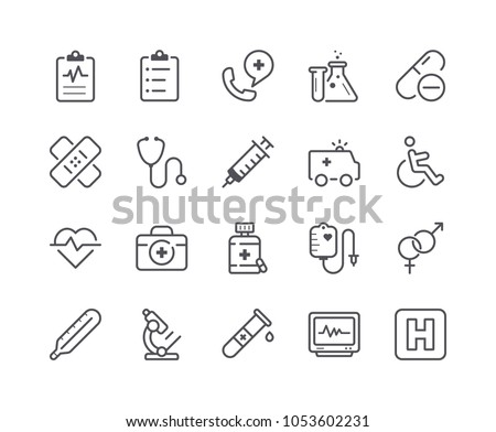Minimal Set of Medical and Health Line Icons. Editable Stroke. 48x48 Pixel Perfect.
