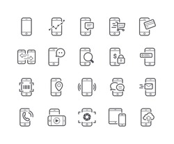 Minimal Set of Mobile Phone Line Icons. Editable Stroke. 48x48 Pixel Perfect.