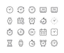 Minimal Set of Time and Clock Line Icons. Editable Stroke. 48x48 Pixel Perfect.