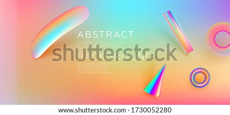 Minimal soft simple style liquid flow background with plastic 3d shapes composition. Neon colors. Eps10 vector