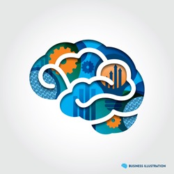 Minimal style Brain Icon Illustration with Creative Business Concept