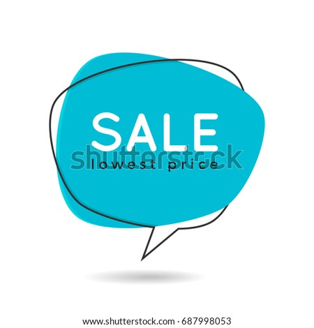 Minimal style flat speech bubble shaped banner, price tag, sticker, badge. Vector illustration.
