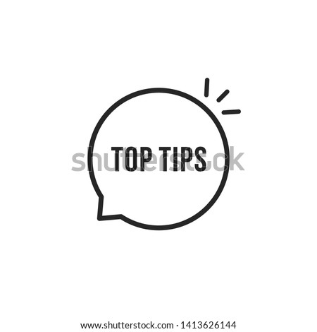 minimal thin line top tips icon. flat lineart style trendy modern creative logotype graphic stroke art design simple element isolated on white. concept of blog speechbubble with faq text Stockfoto ©